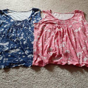 🦋2/$10 My Style Blue & Coral Tank Tops XXL